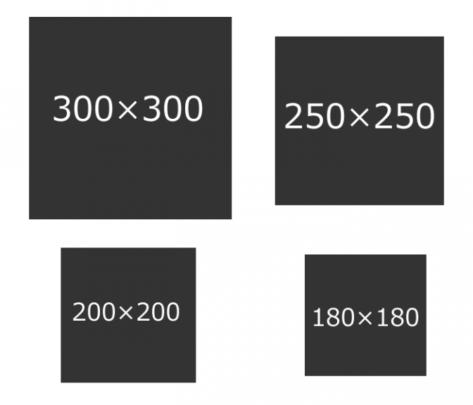 YDN/GDNで使われているバナーサイズ一覧_正方形型 (スクエア型)