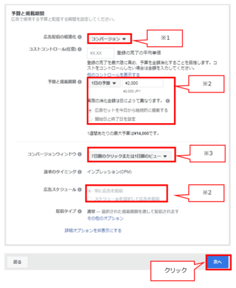 Facebook広告セットの設定の中の予算と掲載期間を設定する(1日の予算)