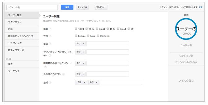 Google アナリティクスのカスタムセグメント画面
