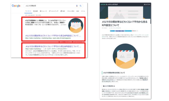 メルマガ開封率のGoogle検索結果とページ内容