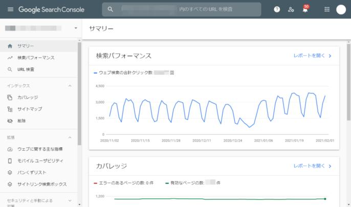 Googleサーチコンソール:ダッシュボードのイメージ