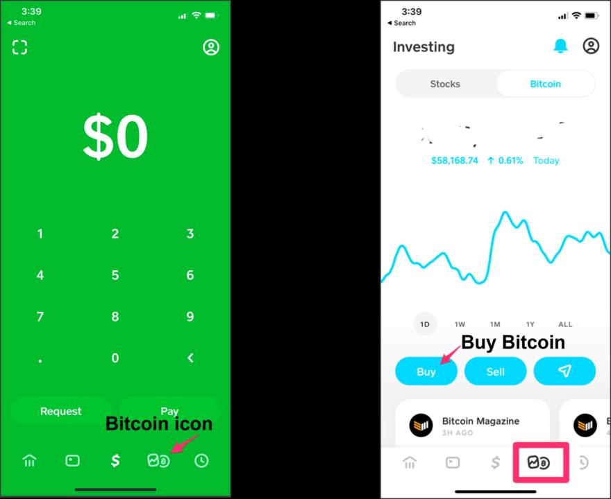 Cash App内でのビットコイン購入イメージ